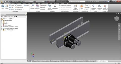 Screen shot of the drive train under construction